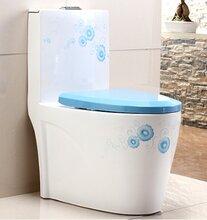 高温彩金蓝色手绘马桶卫浴连体马桶虹吸式陶瓷马桶座便器图片