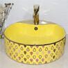 一体圆形陶瓷艺术盆卫浴方形彩金盆电镀彩金艺术洗手盆