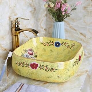 简约创意圆形彩金洗脸盆陶瓷盆彩花陶瓷盆间台上陶瓷洗脸盆面盆图片5
