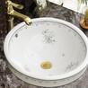 陶瓷嵌入式盆素色陶瓷洗手盆圆形彩金洗手盆洗脸盆