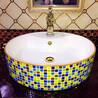 洗面盆台上陶瓷彩绘艺术盆圆形单孔豪华盆彩色钻石洗手艺术盆