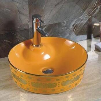 橘黄色洗手盆