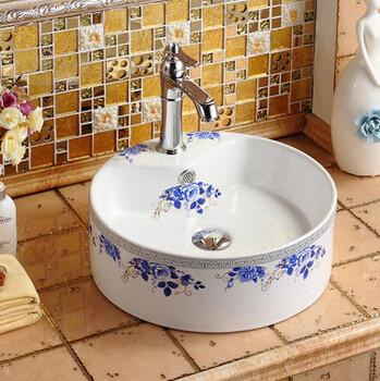 彩花贴金圆形单孔彩金盆陶瓷卫浴盆艺术盆