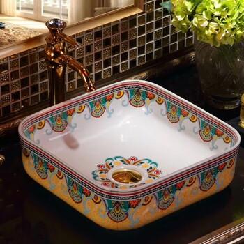 潮州厂家2018新款超薄边艺术盆陶瓷台上彩色盆新图案艺术洗手盆
