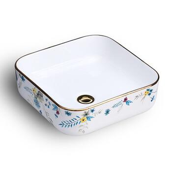方形新款盆盆无孔彩金陶瓷盆新款一体卫浴艺术盆