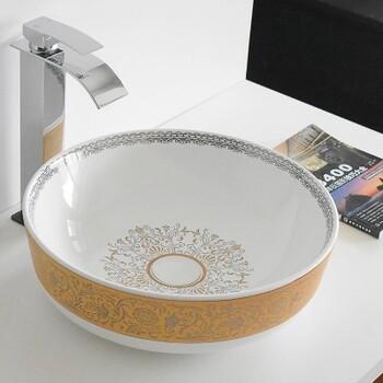 台上无龙头孔高温金色洗手盆卫浴洗脸盆陶瓷圆形洗手盆洗脸盆