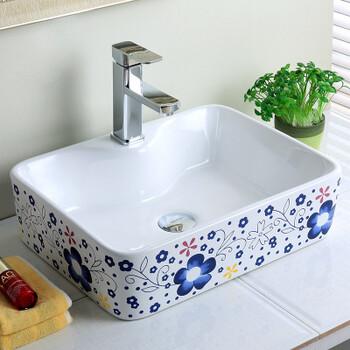 高温彩花盆陶瓷方形陶瓷盆蓝色台上单孔洗手盆艺术盆