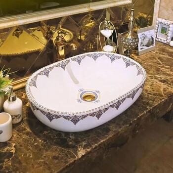 一体简约欧式洗手盆大容量彩色洗手间陶瓷盆无孔洗手盆