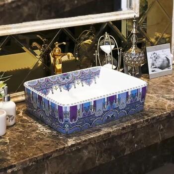 潮州新款方形艺术盆大气彩色欧式陶瓷台上盆洗漱盆艺术盆