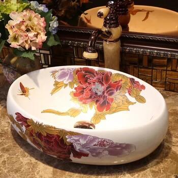一体陶瓷椭圆形中式贴花洗手盆陶瓷彩金艺术盆洗手盆浴室洗脸盆