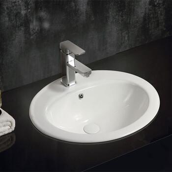 卫生间嵌入式陶瓷椭圆台下盆卫浴厂家批发洗手盆