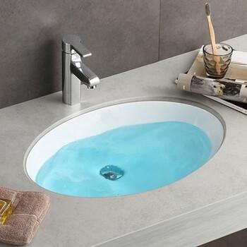 卫浴椭圆陶瓷嵌入式洗手盆浴室柜小号台下盆理石面盆洗手盆台下安装洗面盆