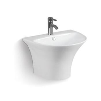 浴室陶瓷出口一体式圆形个性简约一体挂墙盆欧式挂墙陶瓷盆洗手盆