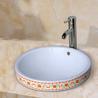 洗漱间台上半嵌入盆陶瓷彩花洗手盆中式高品质洗手盆