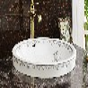 陶瓷半嵌入式素色陶瓷洗手盆圆形彩金洗手盆洗脸盆
