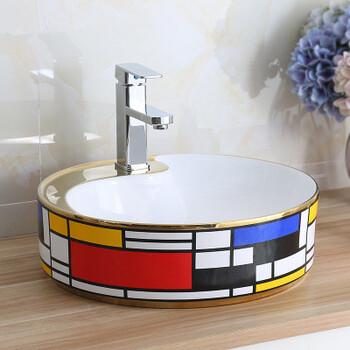 台上陶瓷简欧台上盆彩金椭圆陶瓷卫生间面盆洗手盆