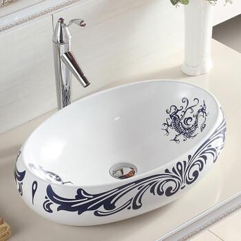 卫生间椭圆形古典陶瓷洗手盆卫浴无孔洗脸盆