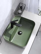 簡約彩色臺上盆陶瓷單孔洗手盆圖片