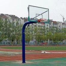 客户定制165圆管篮球架安装完成_固定式圆管篮球架