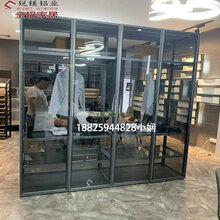 极简风格20边框窄边衣柜门铝合金衣柜窄边框夹5MM玻璃全铝家具图片