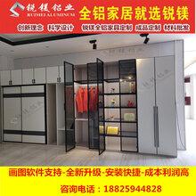 铝合金极简衣柜门铝框玻璃柜门平开门订制全铝家具整板源头厂家图片