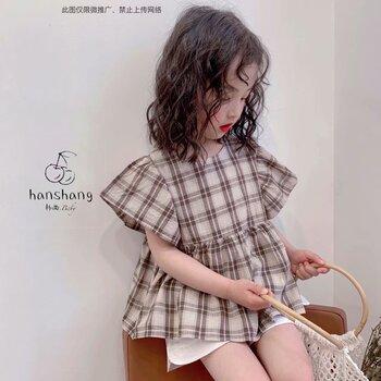 19年安黎小鎮夏新款品牌折扣童裝專柜T恤褲子套裝連衣裙走份