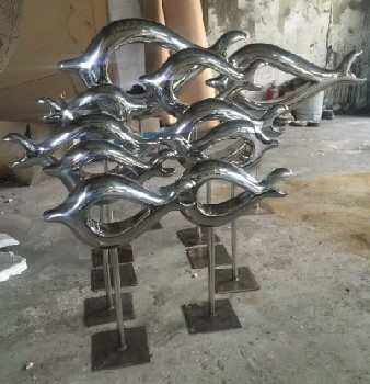 金属工艺装饰摆件不锈钢亮光抽象鱼群雕塑工艺品