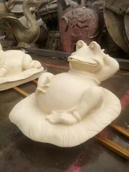 景观雕塑小品吐水动物调皮青蛙4款仿砂岩材质