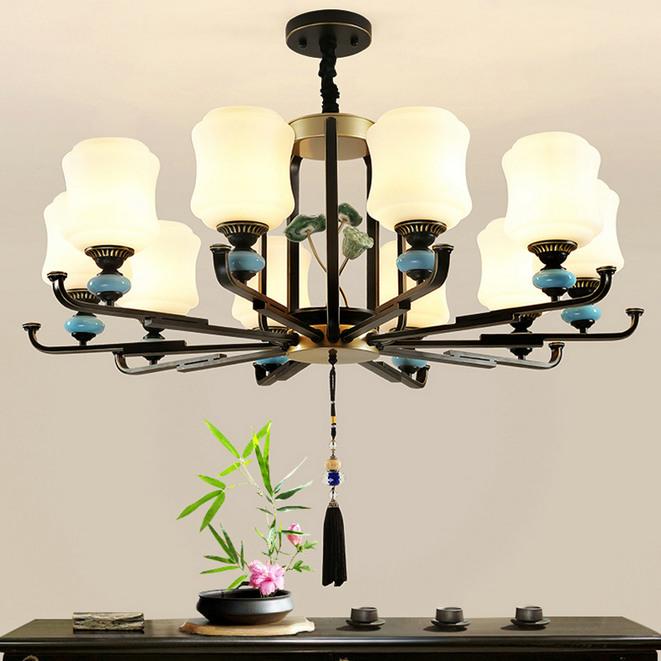 新中式吊灯餐厅灯卧室灯锌合金中国风灯具吊灯客厅灯现代简约灯饰