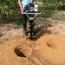 单人手提式大马力挖坑机栽电杆打洞机作业秒速图片