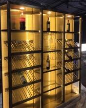 歐式低奢不銹鋼酒柜定制/不銹鋼恒溫酒柜隔斷/特攻不銹鋼酒柜酒架廠家圖片
