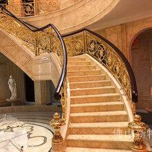 無錫豪華24K金銅樓梯別墅真實安裝案例圖片