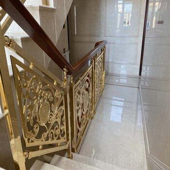 中山电镀K金铝板浮雕镂空护栏别墅成品楼梯螺丝隐藏设计