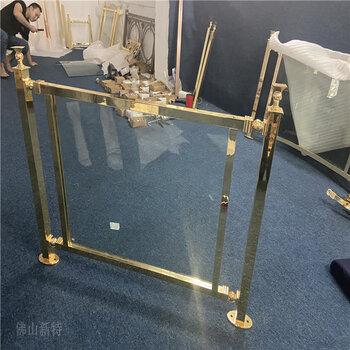 韶关K金铝管夹玻璃楼梯护栏别墅铝艺楼梯扶手现代特色