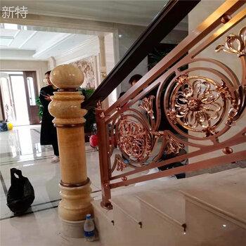 朝阳欧式时尚铜护栏别墅双面铜板雕花扶手2021新图片