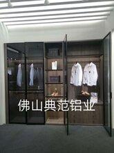 典范新款喷砂黑天地铰链衣柜玻璃门铝材