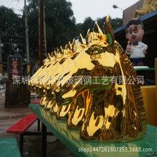 金色马头雕塑马头动物雕塑商场节庆美陈玻璃钢雕塑加工厂
