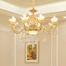 美式全铜吊灯复式楼灯别墅书房卧室灯具简约创意大气餐厅客厅吊灯图片