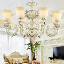 简欧客厅吊灯图片,吊灯价格欧式玉石水晶灯现代简约锌合金餐厅卧室大气家用灯具图片