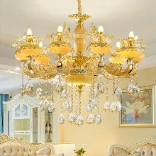 和县欧式水晶吊灯奢华大气客厅吊灯别墅现代卧室餐厅锌合金蜡烛灯图片