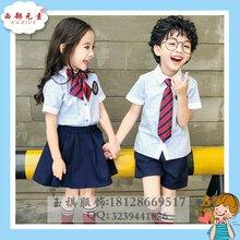 2019夏季新款韩版衬衫幼儿园园服儿童纯棉高档校服学生套装海军风