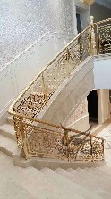 欧式古典风格整体双色铝艺楼梯护栏定制图片
