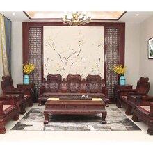 红木沙发-红酸枝彪云沙发组合11件套-酸枝木家具-明清家具-东阳红木家具厂