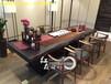 新中式奥坎书桌功夫泡茶桌桌椅组合原木办公会议桌巴花黑檀