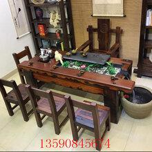 老船木茶桌椅组合流水茶桌实木茶台循环茶几功夫茶桌图片