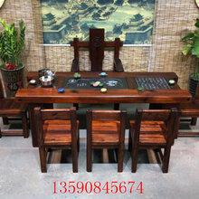 简约-1.8米-2.4米1.2米老船木茶桌实木茶几家具茶水厅功夫茶茶桌图片
