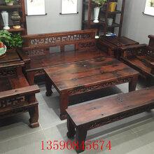 老船木沙发椅组合老船木沙发茶几复古中式家具实木泡茶桌图片