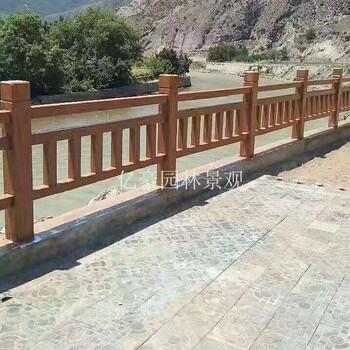 江西仿木梯形护栏厂家直销河道景区仿木栏杆制作
