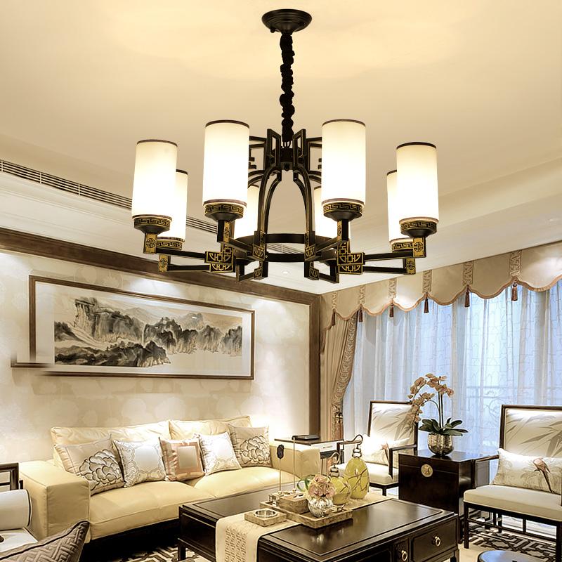 新中式吊灯客厅灯复式楼餐厅酒店大厅灯中国风吊灯青花瓷古典别墅灯具
