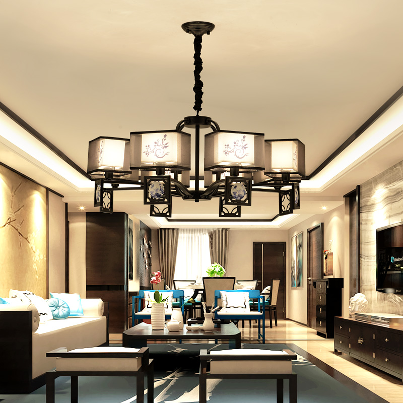 复古新中式布艺吊灯创意中国风客厅吊灯仿古酒楼餐厅书房卧室灯饰
